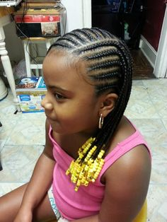 Beautiful cornrows and beads for my little girl!