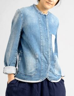 Acne ensor collarless denim jacket at Bird : ShopBird.com #shopbirds #ss14