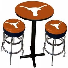 Sports Fan Products SFP-1860-TEX Texas Longhorns Varsity Black Pub Table with Two Bar Stools