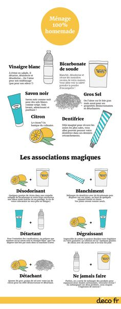 The best DIY projects & DIY ideas and tutorials: sewing, paper craft, DIY. Ideas About DIY Life Hacks & Crafts 2017 / 2018 Infographie ingredients naturels menage -Read Home Hacks, Diy Hacks, Cleaning Hacks, Pump It, Flylady, Tips & Tricks, Natural Cleaning Products, Green Life, Do It Yourself Home