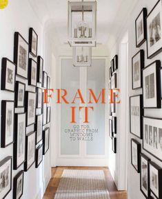 Hallway art and framing gallery wall - black frames Photo Gallery Hallway, Hallway Pictures, Gallery Wall, Gallery Frames, Hallway Art, Hallway Walls, Hallways, White Hallway, Upstairs Hallway