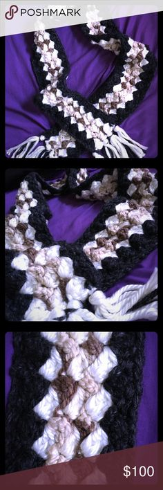 Homemade Crocheted Wool Scarf ❄️MAKE AN OFFER!❄️ 100% Handmade by your Posher, KatelynSky. Crafted with authentic wool & faux wool acrylic Lion Brand skeins. Stitched together using an 11mm hook. No matter how cold it gets this winter, these pricey yarns are made of thick, soft, and very cozy materials that will trap your body heat inside so that your rosy face is engulfed in an unbelievable amount of luxurious warmth. This piece is sure make your season joyful & bright! *Scarf pattern…