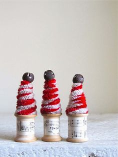 Candy Cane Christmas Trees With Vintage Thread Spools  by cattales, $12.00
