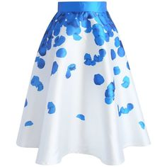 Chicwish Blue Rose Petals Printed Midi Skirt ($42) ❤ liked on Polyvore featuring skirts, blue, petal skirt, midi skirt, rose petal skirt, blue midi skirt and mid calf skirts