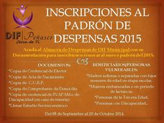 Inscripción al Padrón de Despensas 2015 en el DIF Municipal. Fecha límite 20 de octubre.