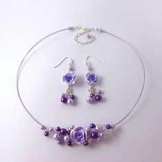 Purple pearls and polymer clay rose by FayeValentine on Zibbet