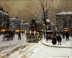 """""""Place de la Madeliene' by Edouard Leon Cortes"""