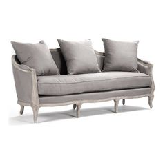 """Kathy Kuo Home - Rue du Bac French Country Grey Linen Feather Sofa - This wonderful curved back sofa is hand crafted of sturdy oak in a slightly distressed white wash finish. Upholstered in natural linen, this French inspired sofa lends vintage elegance to any living room. Two 24"""" and two 18"""" linen toss pillow comes with this sofa. Coordinating armchair and settee available as well. Free white glove delivery included"""