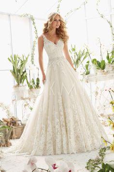 grande immagine Vestido de noiva Cintura Natural Sem Mangas Cinto Renda