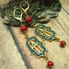 Dark Teal and Gold Hamsa, Swarovski Red Coral Pearl Dangle Earrings | KatsAllThat - Jewelry on ArtFire