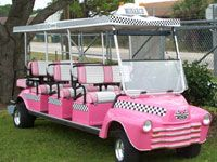 "Converted Golf Cart to extra long taxi. Great for girl's day out on the green! For more converted golf carts, see my board ""Jazzed Up Golf Carts"" for a laugh. Pink Love, Pretty In Pink, Pink And Green, Golf Party, Party Bus, Golf Invitation, Custom Golf Carts, Pink Truck, Everything Pink"