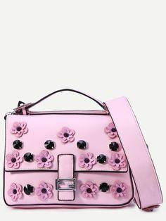 Shop Pink Flowers And Rivet Embellished Satchel Bag online. SheIn offers Pink…