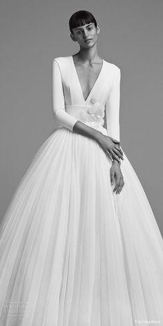 viktor and rolf fall 2018 bridal long sleeves deep v neck embellished waist ball gown wedding dress (22) zv elegant romantic modern minimal -- Viktor
