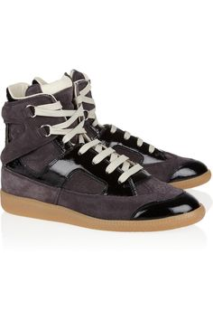 Maison Martin Margiela|Suede and glazed-leather high-top sneakers|NET-A-PORTER.COM