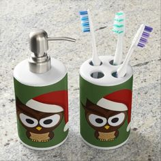 Find a Pink bath set on Zazzle. With a great toothbrush holder & soap dispenser, our bath sets are a great addition to your home! Pink Baths, Felt Owls, Christmas Owls, Cute Owl, Santa Hat, Toothbrush Holder, Soap Dispenser, Snowman, Hats