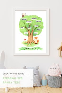 Are you looking for an easy, affordable and convenient way to decorate your child's room then you're in the right place. This personalized family tree print is the perfect piece that will add the finishing touch to your child's room or nursery. Shop it now. Playroom Printables, Family Tree Print, Playroom Wall Decor, Toddler Playroom, Minimalist Nursery, Personalised Family Tree, Kids Birthday Gifts, Child's Room, Nursery Ideas
