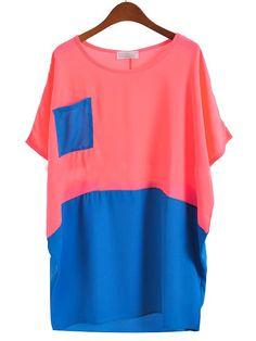 #SheInside Red Blue Short Sleeve Pocket Batwing Chiffon Blouse