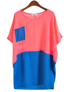 #SheInside Red Blue Short Sleeve Pocket Batwing Chiffon Blouse