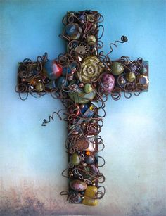 12 Inch Large Wire-wrapped Rusty Iron Wall Cross with Patina Ceramic Beads