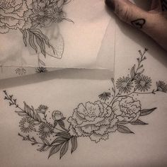 Stunning! Emily Alice Johnston tattoo. Fine line, flowers.