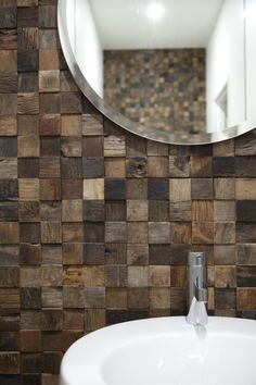 "Gorgeous Renaza reclaimed timber tiles give this bathroom a feature wall with massive ""wow"" factor. www.brindabellabathrooms.com.au"