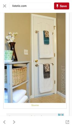 Small space (behind bathroom door towel storage)