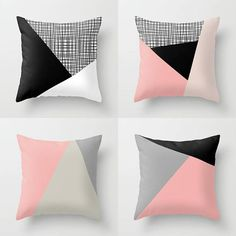 Items similar to NORDIC Color Block Triangles Throw Pillow Indoor Outdoor Cushion cover case Black White Baby Pink Light Rose Melon Stone Dove Ash Slate Grey on Etsy Cushion Cover Designs, Pillow Cover Design, Outdoor Cushion Covers, Outdoor Cushions, Diy Cushion Covers, Down Pillows, Bed Pillows, Pink Throw Pillows, Burlap Pillows