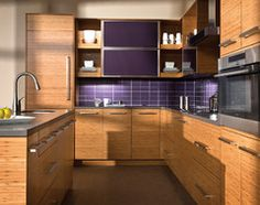 Houzz: Using purple in the home.   The Beauty of Bamboo contemporary kitchen