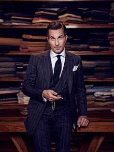 """Alexander Kraft in Cifonelli (ZZ-Top said it """"Every girl is crazy about a sharp dressed man."""" Love the classic pinstripe and vest.)"""
