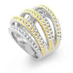 Classic Elements Modern Two-Tone Gold-Plated CZ Ring