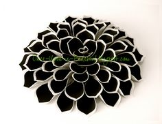 Black & White Fantasy Flower from wafer paper & frosting sheets