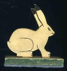 icollect247.com Online Vintage Antiques and Collectables - RABBIT WOOD TOY TURN OF THE CENTURY Toys-Wooden