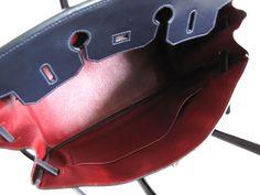 Hermes Birkin 35cm BICOLOR Indigo Box Calf Rouge lining GHW