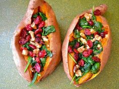 Sweet Potatoes with Spinach, Walnuts and Cranberries: