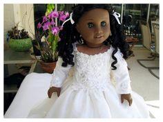 18 Inch Miniature Wedding Dress, Custom Order for Karen A