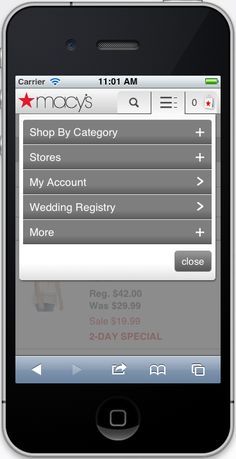 Mobile accordion dropdown menu example on Macy's