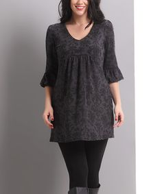 This Charcoal Damask Bell-Sleeve Empire-Waist Dress - Plus is perfect! #zulilyfinds