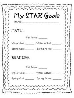 Use this form to set student goals for STAR Reading and STAR Math Assessments. I add this sheet to my students Data Binders.