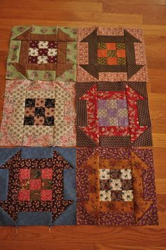 good idea for blocks-Kim Diehl, Simple Comforts Colorful Quilts, Small Quilts, Mini Quilts, Scrappy Quilts, Primitive Quilts, Antique Quilts, Quilt Block Patterns, Quilt Blocks, Halloween Quilts