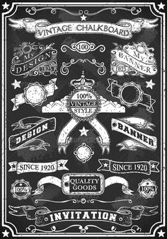 Hand Drawn Blackboard Banner  #GraphicRiver         Detailed illustration of a…