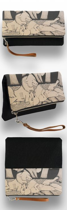 """The Dog Days of Summer"" Black and White Clutch Bag  #wolf #wolf_products #wolf_couple #sepia #art #illustration #pen_drawing #cute #animal #canine"