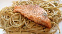 Salmon with Creamy Basil Pasta