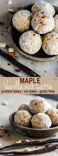 No Bake Maple Vanilla Nut Latte Protein Bites! These Grain Free and Gluten Free protein bites are super easy to make, healthy, and great pick me up for an afternoon snack or even breakfast