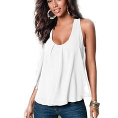 Women Summer Chiffon Sleeveless Blouse Ladies Sexy Loose Casual Vest Tank Tops Black Shirt