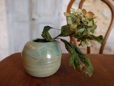Round Vase, Bud Vases, Frost, Stoneware, Pottery, Etsy Shop, Beige, Decoration, Unique Jewelry