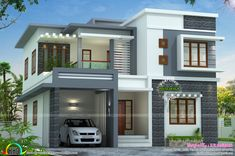 west in s style house plans january kerala home design and floor small house design with rooftop lovely flat roof house Two Story House Design, Simple House Design, House Front Design, Roof Design, Exterior Design, Modern Bungalow Exterior, Exterior Paint, Home Interior Design, Design Design