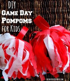 DIY Game Day Pom Poms for the Super Bowl! See more kid-friendly Super Bowl Ideas on www.prettymyparty.com.