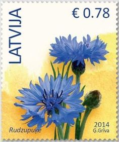 Latvia Postage Stamp with Flowers, Issued in 2014  #Sellos
