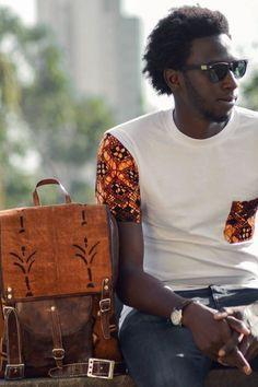 T-shirt customisé poche et manche en WAX