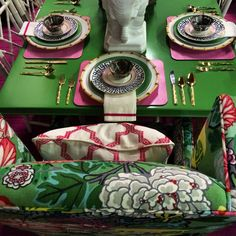 Entertaining with Parker Kennedy Living : pink, green, gold, bamboo, fabrics, Schumacher, Ming dragon, chinoiserie, style dining table, Atlanta dining, interior designers, preppy, chic, luxe, color